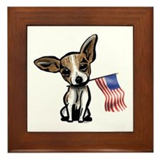 4th of July Chihuahua Framed Tile