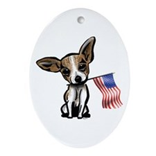 4th of July Chihuahua Oval Ornament