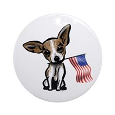 4th of July Chihuahua Ornament (Round)