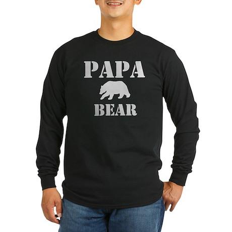 Papa Mama Baby Bear Long Sleeve Dark T-Shirt