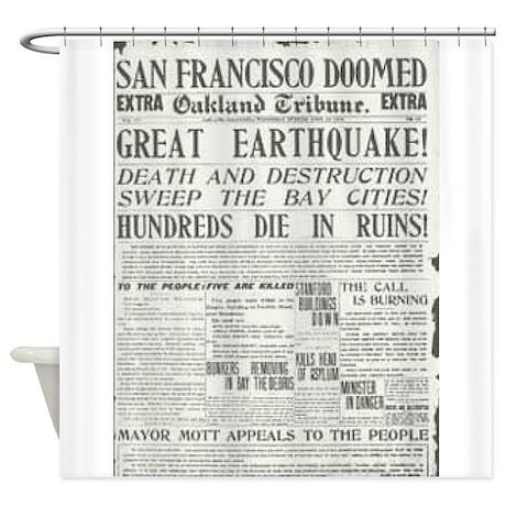 Oakland Tribune 1906 SF Earthquake Shower Curtain