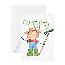 Country Boy Farmer Greeting Card