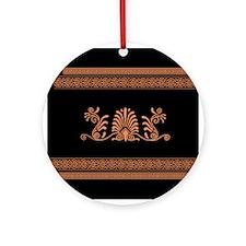 Black and Orange Greek Design Ornament (Round)