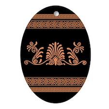 Black and Orange Greek Design Ornament (Oval)