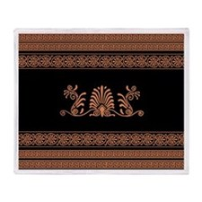 Black and Orange Greek Design Throw Blanket