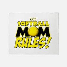 This Softball Mom Rules Throw Blanket