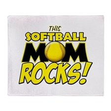 This Softball Mom Rocks Throw Blanket