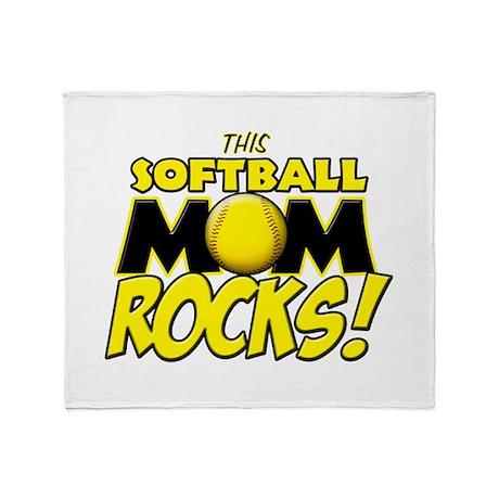 This Softball Mom Rocks Throw Blanket