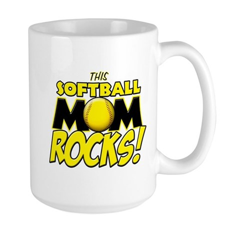 This Softball Mom Rocks Large Mug