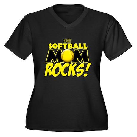 This Softball Mom Rocks Women's Plus Size V-Neck D