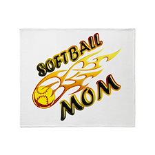 Softball Mom (flame) Throw Blanket