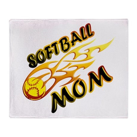Softball Mom (flame) Throw Blanket