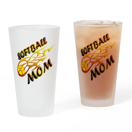 Softball Mom (flame) Drinking Glass