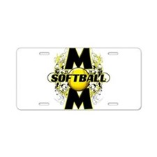 Softball Mom (cross) Aluminum License Plate