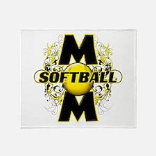 Softball Mom (cross) Throw Blanket