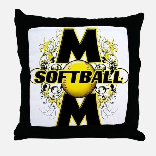Softball Mom (cross) Throw Pillow