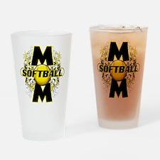 Softball Mom (cross) Drinking Glass