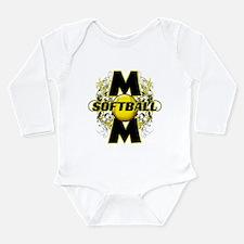 Softball Mom (cross) Long Sleeve Infant Bodysuit
