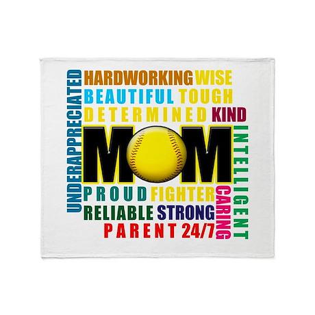 A Softball Mom Throw Blanket
