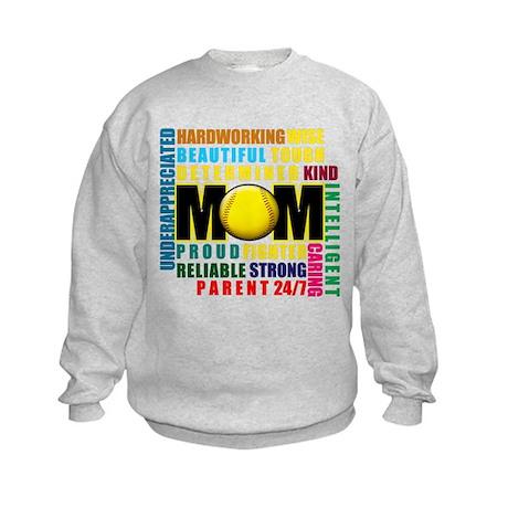 A Softball Mom Kids Sweatshirt