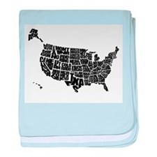 Word Maps baby blanket