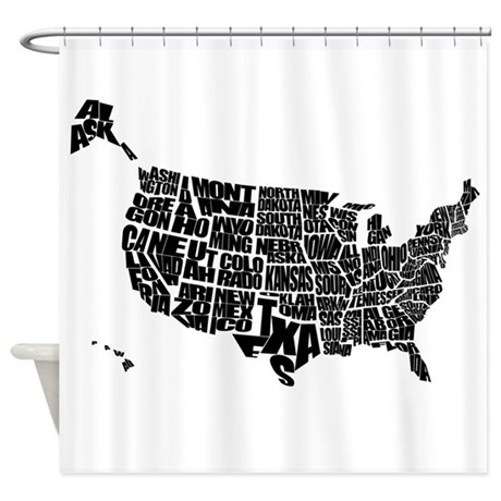 Word Maps Shower Curtain