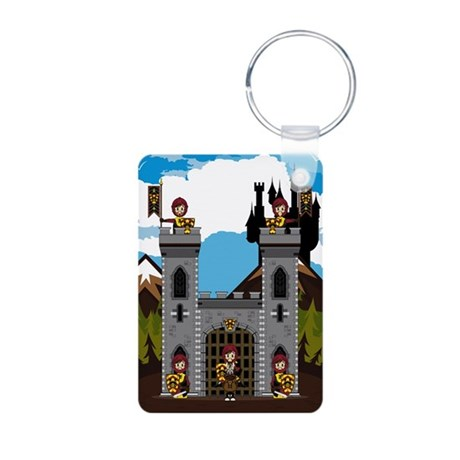 Medieval Knights at Castle Aluminum Photo Keychain