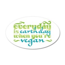 Vegan Earth Day 22x14 Oval Wall Peel