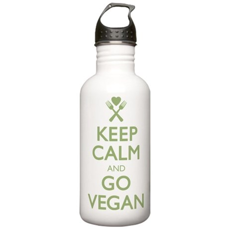 Keep Calm Go Vegan Stainless Water Bottle 1.0L