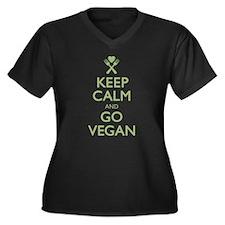 Keep Calm Go Vegan Women's Plus Size V-Neck Dark T