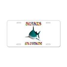Awesome Sharks Aluminum License Plate