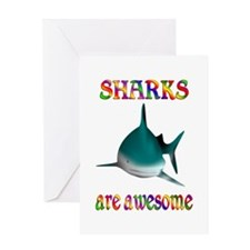 Awesome Sharks Greeting Card