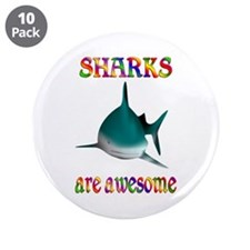 """Awesome Sharks 3.5"""" Button (10 pack)"""