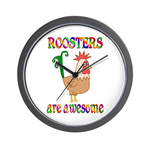 Awesome Roosters Wall Clock By Happyheartgifts