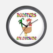 Awesome Roosters Wall Clock