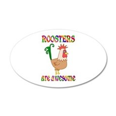 Awesome Roosters 22x14 Oval Wall Peel