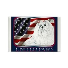 Maltese United Paws Flag Rectangle Magnet