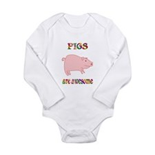 Awesome Pigs Long Sleeve Infant Bodysuit