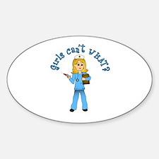 Nurse in Blue Scrubs (Blonde) Sticker (Oval)
