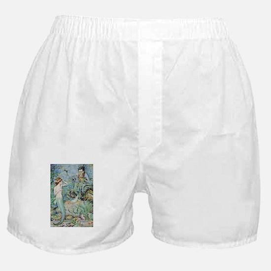 Little Mermaid Illustration Boxer Shorts