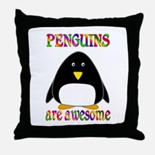 Awesome Penguins Throw Pillow