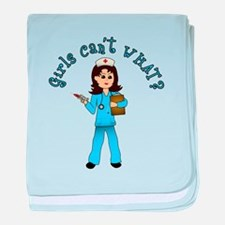 Nurse in Blue Scrubs (Light) baby blanket