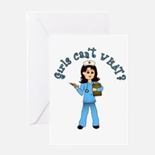 Nurse in Blue Scrubs (Light) Greeting Card