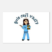 Nurse in Blue Scrubs (Light) Postcards (Package of