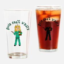 Nurse in Green Scrubs (Blonde) Drinking Glass