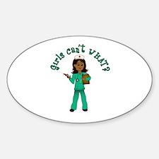 Nurse in Green Scrubs (Dark) Sticker (Oval)