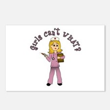 Nurse in Pink Scrubs (Blonde) Postcards (Package o
