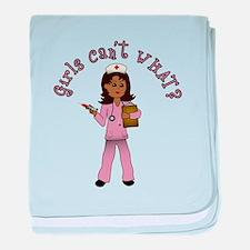 Nurse in Pink Scrubs (Dark) baby blanket