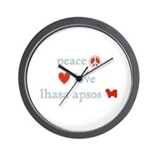 Peace, Love & Lhasa Apsos Wall Clock