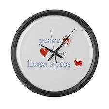 Peace, Love & Lhasa Apsos Large Wall Clock